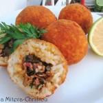 Оризови крокети с кайма, гъби и прошуто