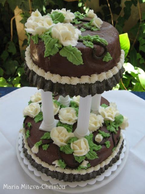 Торта с блатове Гараш и Пандишпан и крем Гараш и Ванилия