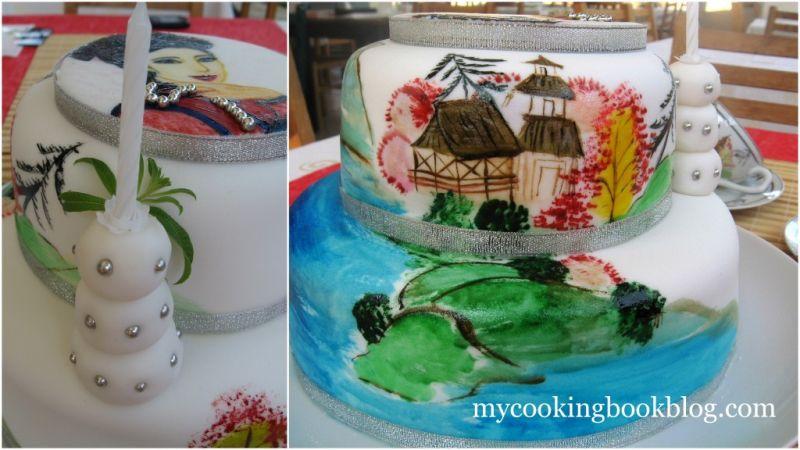 Рисувана Торта с Китайски Елементи и Красива Азиатка