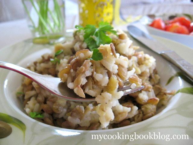Пилаф от зелена леща и ориз по Кипърски