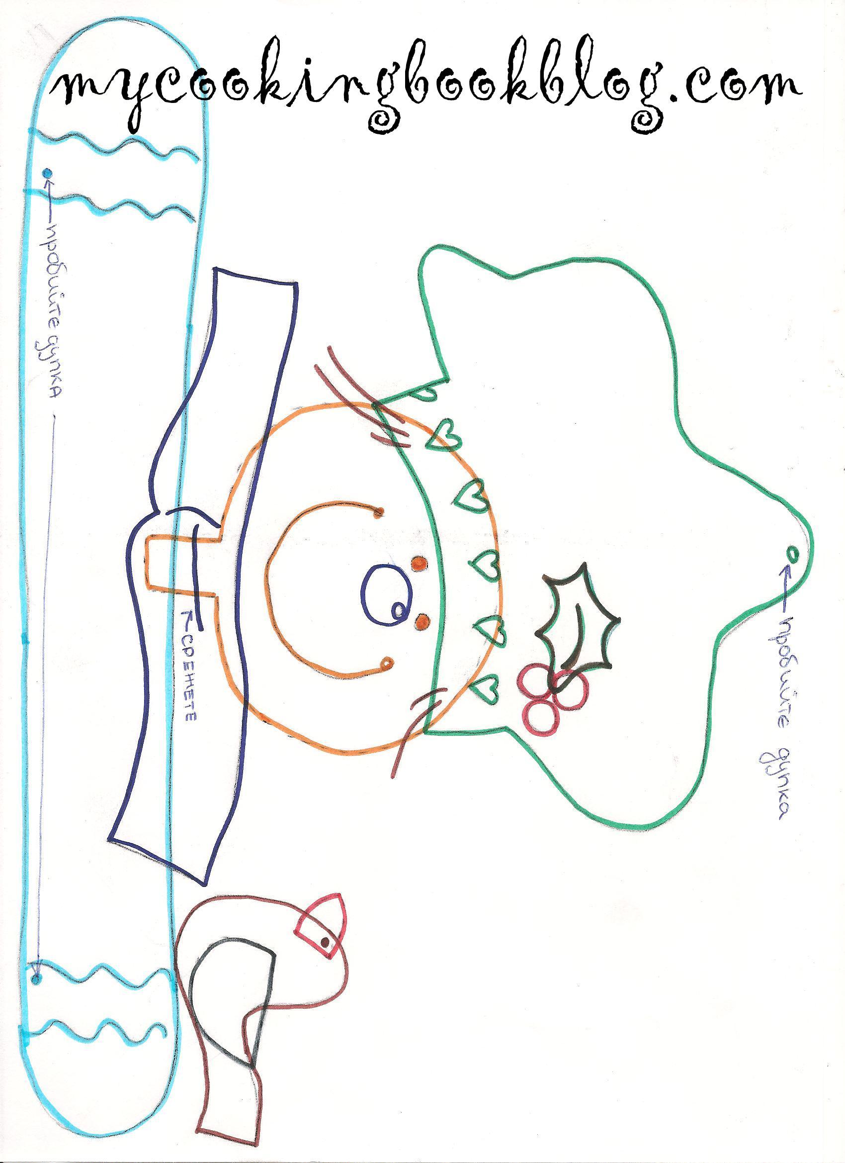 Шаблон 1 за Декорация от джинджифилови бисквити и мечета с бадемче