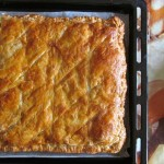 Баница с многолистно тесто (puff pastry), спанак, гъби и сирене Фета