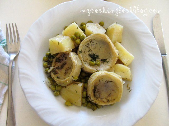 Грах с артишок и картофи