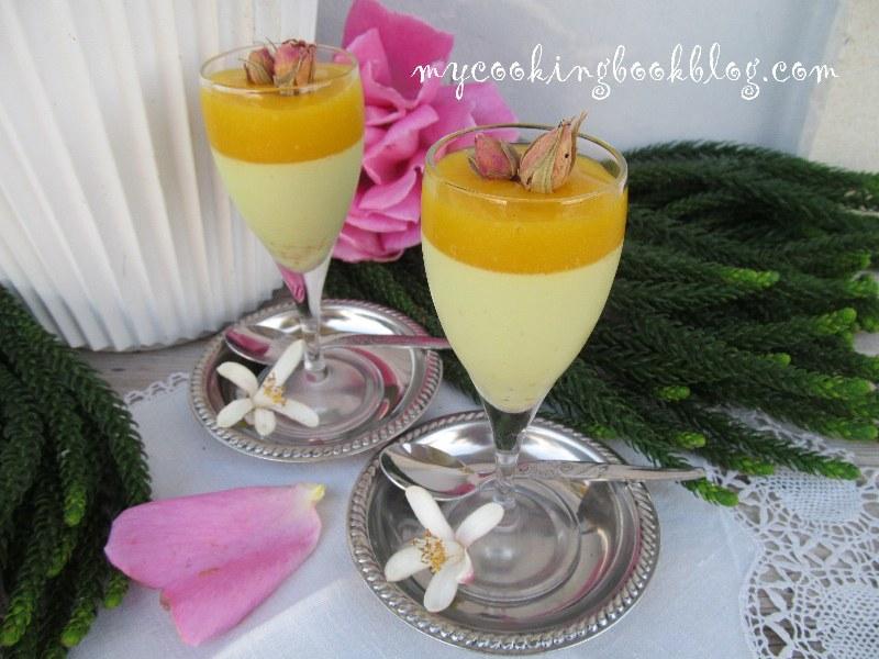 Панакота с куркума, розова вода, кардамон и сос манго